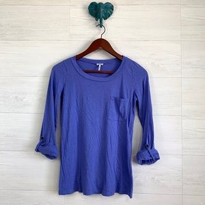 Splendid Periwinkle Blue Roll Tab Thin Knit Top